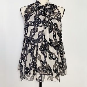 DVF silk high neck chain link sleeveless blouse